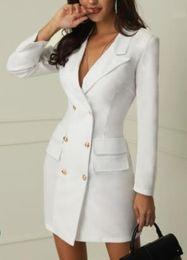 KhaKi double breasted dress online shopping - Women Office Lady Work Dress Spring Autumn V neck Double Breasted Blazer Dresses White Black