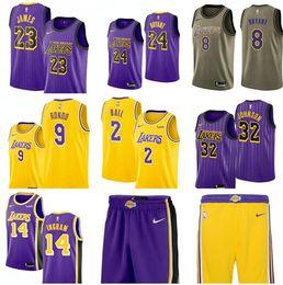 ca765426c1d5 2019 New Season 23 James 24 Kobe 8 Kobe 9 Rondo 32 Johnson 2 Ball 14 Ingram  city Purple Stripe Jerseys And Pants