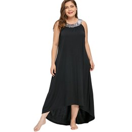 plus size vintage style dresses UK - Wipalo Plus Size 5xl Sequins Collar Sleeveless Long Maxi Dress Women Summer Sexy Black O-neck Elegant Party Dress Boho Vestidos Y19051102