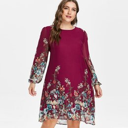 c138248ee20 Wipalo Plus Size 5XL Floral Print Chiffon Dress Women New Autumn Long  Sleeve Casual Dress Female Dresses Spring Women s Clothing Y190117