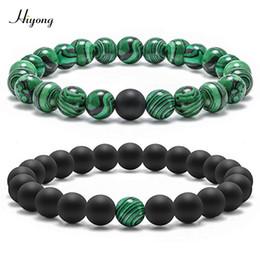 $enCountryForm.capitalKeyWord Australia - HIYONG Natural Stone Beads Bracelets Couple Classic 8mm Black Matte Green Malachite Bracelet Women Men Strand Charm Bracelet