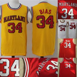 084b7dbef49d  34 Len Bias 1985 Maryland Terps University Jersey Mens All Stitched Len  Bias University College Basketball Jerseys White Yellow Red S-XXXL