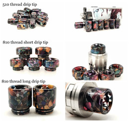 wide bore wood drip tip UK - 3 Styles 510 810 Thread Stable Wood resin Material Drip Tips Wide Bore Mouthpiece for TFV8 Prince 528 TFV8 Baby Trinity Alpha Acrylic Pack