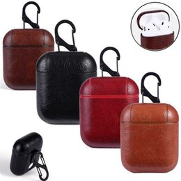 Package house online shopping - Genuine Leather Headset Case Bag Cover with Hook Keychain for Apple AirPods Charging Housing High Quality