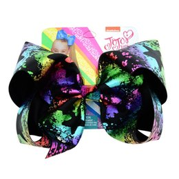 "laser lights for kids UK - 8"" Jojo Bows Sequin Hair Clip Kids Handmade Dark Painting Ribbon Laser Color Fashion Hair Accessories for Children Punk Bows"