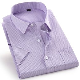formal shirts gray color Australia - Twill Pure Color 8XL 7XL 6XL 5XL large size Men Short Sleeve Slim Fit Formal Men's White Shirt Business Male Social Shirts MX200518