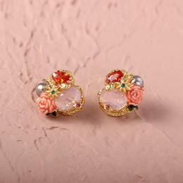$enCountryForm.capitalKeyWord Australia - free shipping Romantic rose earrings stone ear hook middle rose bracelet rose necklace suits