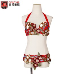 $enCountryForm.capitalKeyWord Australia - Women Belly Dance Costume Egyptian Flower Outfit Set Red Bra Belt Carnival Bollywood New Arrivals 2019