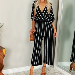 black overall long pants 2019 - Fashion Women Short Sleeve Striped Loose Baggy Trousers Overalls Pants V- Neck Romper Jumpsuit Wide Leg Pants Long Trous