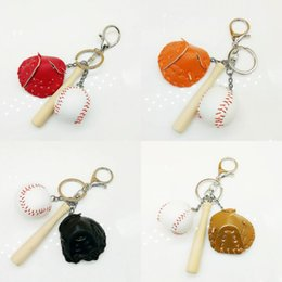 Cellphone Keys Australia - Free DHL Baseball Bat Glove Set Keyring Creative Keychains Mini Key Holder Sports Bag Cellphone Car Pendant for Women Men 4 Colors G633Q F