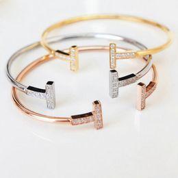 $enCountryForm.capitalKeyWord Australia - Adjustable CZ Crystal Pulsera Double T Shaped Cuff Bracelet Bangle Open Cross Charm Love Bracelet for Women Men Wedding Party Hand Ring