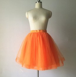 Discount mini bridesmaid tutu dresses - Women Tulle Skirt Short Tulle skirt OrangeTulle Skirt Prom Skirts Bridesmaid Tutu Cosplay Dress Lady Formal Skirts Birth