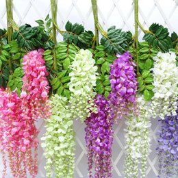 red flowering vines NZ - 7 Colors Elegant Artificial Silk Flower Wisteria Flower Vine Rattan For Garden Home Wedding Decoration Supplies 75cm and 110cm Available