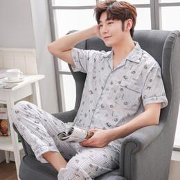 Discount cardigan shirt sets - New Men's Pajama Set Cardigan Lapel Pijamas Cotton Plaid Home Clothing short Sleeve Male Home Wear Stylish Brand Pa