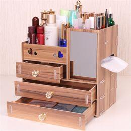 Eco wood makEup online shopping - Urijk DIY Wooden Storage Box Makeup Organizer Jewelry Container Wood Drawer Organizer Handmade Cosmetic Storage Box
