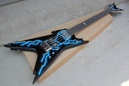 String Shaped Guitar Australia - Free shipping,Factory Unusual Shape Black Electric Guitar with 8 Strings,Blue Lightning Pattern,Chrome Hardwares,Can be Customized