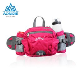 Wholesale AONIJIE Sports Nylon Waist Bag Running Belt Big Storage Money Pouch Travel Cycling Fanny Pack with Bottle Holder