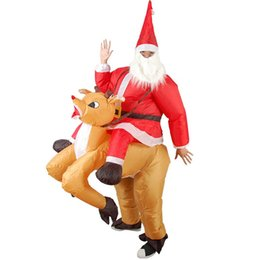 $enCountryForm.capitalKeyWord Australia - Funny Inflatable Costume Blow up Christmas Elk Ride On Santa Claus Fancy Dress Halloween Jumpsuit Cosplay Outfit Gift,Adult
