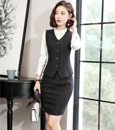 Black Work Vests NZ - Formal Women Business Suits Skirt and Top Sets Work Wear Ladies Waistcoat & Vests Black OL Style