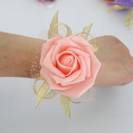 $enCountryForm.capitalKeyWord Australia - Wedding Decoration PE Rose Wrist Corsages wristband flower Artificial Brides Bridesmaid silk lace Wrist Flower marrige accessories