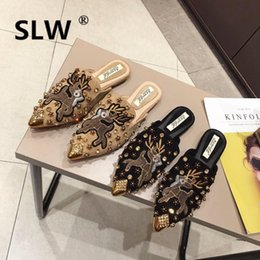 Shallow mouthed canvaS ShoeS online shopping - flock embroidery mules crystal studs outside lazy shoe ladies spring new hot korean style shallow mouth slides feminino