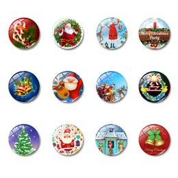 fridge magnet packaging 2019 - Snowman and Santa Claus Fridge Magnet Suit 30 Mm Cartoon Glass Refrigerator Magnetic Sticker Home Decor Christmas Gift c