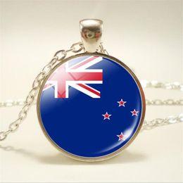 Necklaces Pendants Australia - 2019 New Vintage Boho Time Gem Glass Cabochon New Zealand National Flag World Cup Football Fan Pendant Necklace for Women Men Choker Jewelry