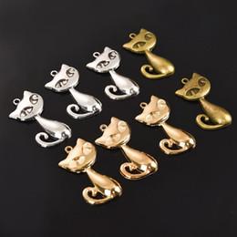 TibeTan charms caTs online shopping - 10pcs x20mm Alloy Cat Charms Pendants Vintage Tibetan Silver Antique Bronze Gold For DIY Bracelet Necklace Crafts