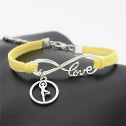 $enCountryForm.capitalKeyWord Australia - Hot Yellow Leather Rope Thread Knitted Charm Bracelet Metal Infinity Love Ballet Gymnastics Posture Chakra Yoga Build You Own Design Jewelry