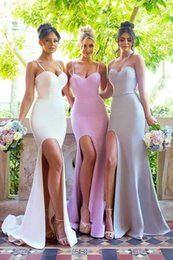 $enCountryForm.capitalKeyWord Australia - Country Style Mermaid Long Bridesmaid Dresses 2019 Ivory Pink Straps Spaghetti Side Split Maid Of Honor Gowns Cheap Wedding Party Wear