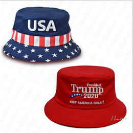 christmas visor Canada - Bucket Hat Men Women Flag Stars Striped Embroidery USA Cap Cotton Fishing Visor Caps Make America Great Election President Sunhat D42204