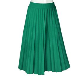 $enCountryForm.capitalKeyWord UK - Women Skirts Spring Autumn Summer Style Women's High Waist Pleated Fashion Solid Girl Half Length Skirt Breathble Ankle Length