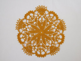 "crochet doily tablecloth UK - 3PCS Round gold crochet doily (23 cm or 9.05""), small lace doily, gift, coaster, coffee tablecloth, yellow crochet decoration, mustar decora"