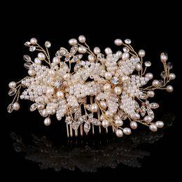 $enCountryForm.capitalKeyWord Australia - Wedding Hair Accessories Handmade Gold Silumated-pearls Bride Hair Combs Tiaras Crystal Bridal Hair Sticks Evening Head Wear