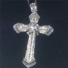 Discount sterling silver cross necklaces for men - Big Cross pendant With necklace 925 Sterling silver zircon Cz Party wedding Pendants for women men Jewelry