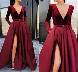 deep burgundy evening dresses Australia - 2019 Winter Burgundy Velvet Evening Dresses Formal With Split Sash Deep V-neck Long Sleeve Prom Dress Elegant Special Occasion Dress Women