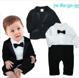Bambino Blazer Suit per ragazzi Gentlemen del bambino del cotone dei vestiti del ragazzo Set Maniche lunghe pagliaccetto Tute and neonati Jacket in Offerta