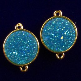 $enCountryForm.capitalKeyWord Australia - 2Pcs sky blue Titanium Crystal Agate Druzy Quartz Geode round Pendant Bead