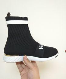 Ingrosso Donne di marca Nero Stretch Textile Slip-on Aftergame Sneaker Designer Lady Star Trail Sock-like Upper Letter Strap Casual Scarpe 7fgh