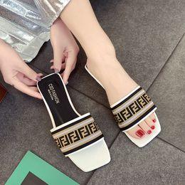 $enCountryForm.capitalKeyWord Australia - Fashion FF Brand PU + Fabric Women Sandals Classic Woman Designer Slide Slipper Fends Non-slip Rubber Flat Bottom Sandals Beach Shoes C61005