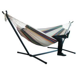 Wholesale stand chair resale online - 200 cm Indoor Outdoor Camping Hammock with Stand Hanging Chair Durable Comfort Thick Canvas Stripe Hammocks Hanging Chairs