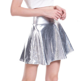faux leather skater skirt UK - Designer Leather Skirt Waist High Pu Skirts Casual Mini Gold Skirt Faux Skater Pleatedfemale Silver Black Skirt Plus Size