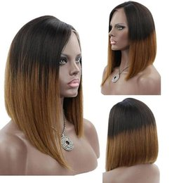 Layers Hair NZ - Celebrity wigs full lace wig bob style 12inch ombre 1b 30 bob wig layer straight brazilian human hair lace frontal wig free shipping