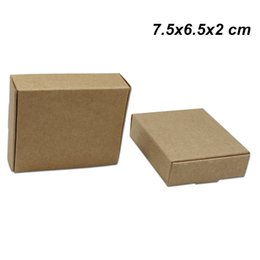 diy handmade crafts NZ - 7.5x6.5x2 cm Brown Kraft Gifts Crafts DIY Handmade Soap Paper Board Box for Wedding Birthday Card Paper Candy Bakery Cake Storage Pack Boxes