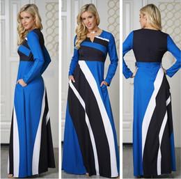 5b1da7a0928c Women Africa Maxi Dress 2019 Autumn A-Line V-Neck Zipper Stripe Color Block Dress  Casual Fashion Office Lady African Long Dress