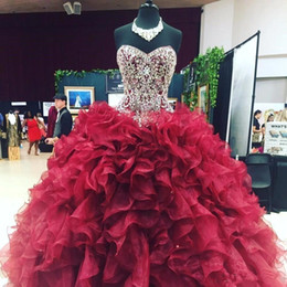 5ad7f94f10 Crystal Beaded Sweetheart Bodice Corset Organza Ruffles Ball Gowns  Quinceanera Dresses 2019 Burgundy Vestidos De 15 Anos Gowns BC1893