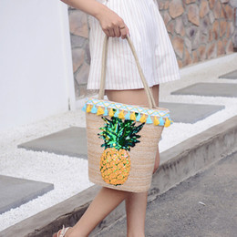 $enCountryForm.capitalKeyWord Australia - Overseas2019 Woman Bag Year Straw Plaited Article Sandy Beach Package Popular Pineapple Paillette Hand Bill Of Lading Shoulder Satchel