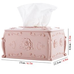 copper containers NZ - Plastic Tissue Box Cover Napkin Storage Box Living Room Organizer Car Paper Holder Napkin Container