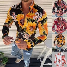 sunflower printed fashion UK - New Autumn Man Shirt Top Fashion Hawaiian Shirts Sunflower Print Casual Button Down Long Sleeve Blouse Shirts Top