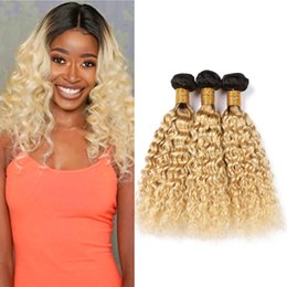 blonde wet wavy brazilian hair NZ - #1B 613 Ombre Brazilian Wet and Wavy Human Hair Bundles 300Gram Black Roots and Blonde Ombre Virgin Hair Extensions Water Wave Weave Hair